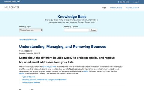 Understanding, Managing, and Removing Bounces