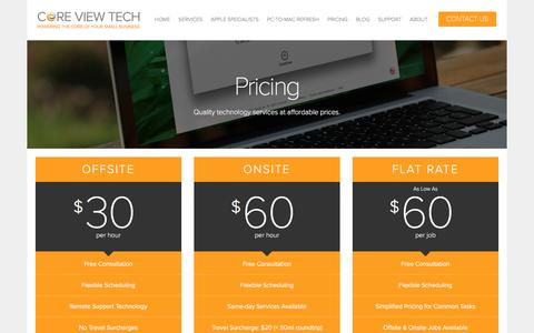 Screenshot of Pricing Page coreviewtech.com - Pricing — Core View Technologies - Baltimore, Maryland Computer Repair & Technology for Small Businesses - captured May 22, 2017