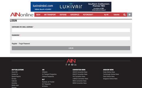 Screenshot of Login Page ainonline.com - Home   Aviation International News - captured Oct. 2, 2015