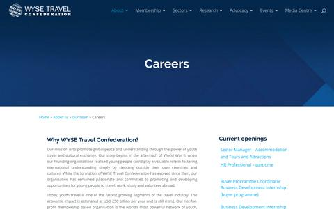Screenshot of Jobs Page wysetc.org - Careers - WYSE Travel Confederation - captured Sept. 22, 2018