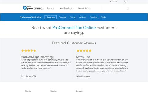 Screenshot of intuit.com - 2016 ProConnect Tax Online Reviews & Ratings | Intuit - captured July 22, 2017