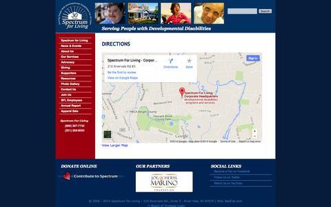 Screenshot of Maps & Directions Page spectrumforliving.org - Directions   Spectrum For Living - captured Sept. 30, 2014