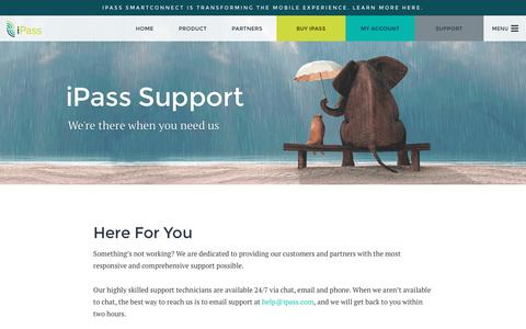 Screenshot of Support Page ipass.com - iPass Support - iPass - captured Aug. 6, 2016