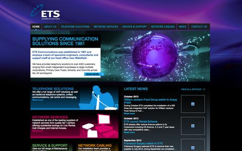 Screenshot of Home Page etscommunications.co.uk - ETS Communications, Telephone Solutions, Network Services, Network Cabling, VoIP Solutions, Advanced Voice and Data Applications - captured Oct. 1, 2014