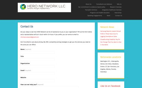 Screenshot of Contact Page hero-network.com - Contact Us | HERO Network LLC - captured July 9, 2016