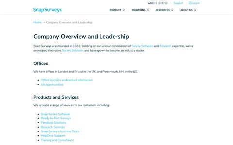 Screenshot of About Page snapsurveys.com - About Snap Surveys | Management Team - captured July 9, 2019