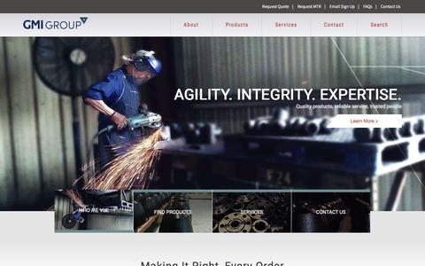 Screenshot of Home Page gmigroup.com - Flange, Fitting and Pipe Manufacturer | GMI Group - captured Feb. 1, 2016