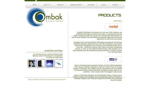 Screenshot of Products Page ombakassociates.com - Ombak Associates - eBusiness Partner - captured Oct. 26, 2014
