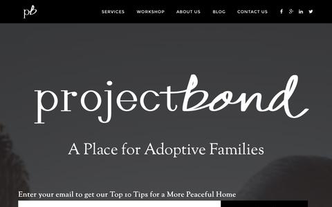 Screenshot of Home Page theprojectbond.com - Project Bond Inc. — A Place for Adoptive Families - captured Oct. 3, 2014
