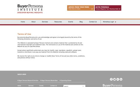 Screenshot of Terms Page buyerpersona.com - Terms of Use - captured Oct. 11, 2017