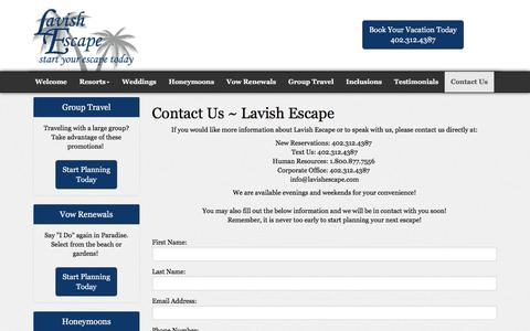 Screenshot of Contact Page lavishescape.com - Contact Us | Lavish Escape Travel Agency | Nebraska - captured May 15, 2017