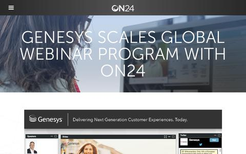 Screenshot of Case Studies Page on24.com - Genesys Scales Global Webinar Program with ON24 - captured Oct. 12, 2017