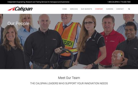Screenshot of Team Page calspan.com - The Talented Team Responsible for Meeting Your Needs - captured Sept. 26, 2018