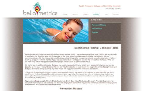 Screenshot of Pricing Page bellametrics.com - Cosmetic tattooing and migropigmentation restorative pricing - captured Oct. 5, 2014