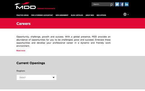 Screenshot of Jobs Page mdd.com - Work for Forensic Accountants   MDD Forensic Accountants - captured Oct. 4, 2017
