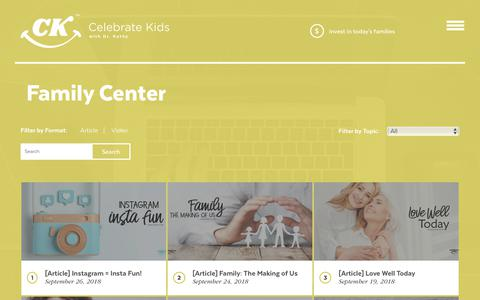 Screenshot of Blog celebratekids.com - Family Center Family Center | Celebrate Kids - captured Sept. 27, 2018
