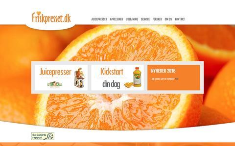 Screenshot of Home Page friskpresset.dk - Juicepresser, friskpresset juice, juicemaskine og citrocasa i Holbæk - Romeo S.M.B.A. - captured Nov. 25, 2016