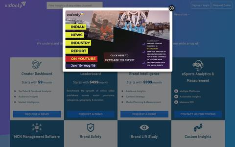 Screenshot of Pricing Page vidooly.com - Pricing For Content Creators, Brands, Agencies & Multi Channel Networks (MCNs) | Vidooly - captured Oct. 14, 2019