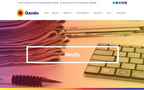 Screenshot of Press Page oandoplc.com - MEDIA - Oando PLC - captured June 25, 2017