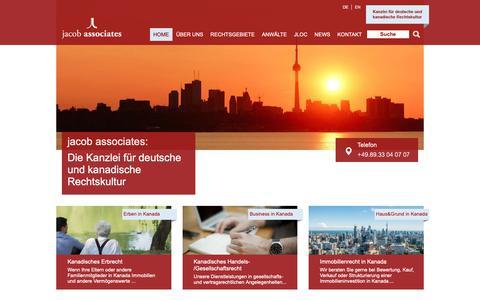 Screenshot of Home Page jacoblaw.com - Kanadisches Recht » jacob associates - captured Dec. 20, 2018