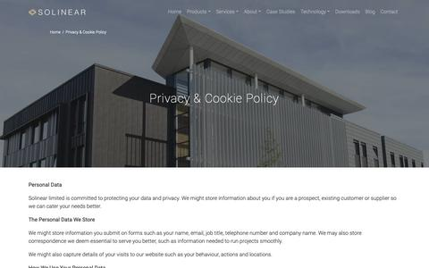 Screenshot of Privacy Page solinear.co.uk - Privacy & Cookie Policy - Solinear - captured Oct. 20, 2018