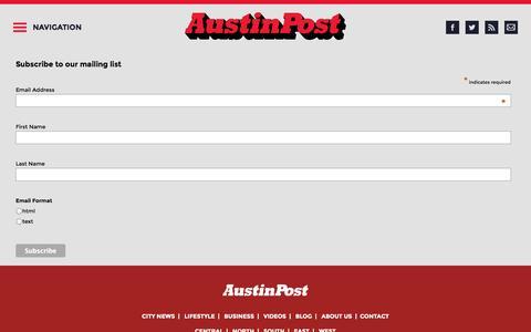 Screenshot of Signup Page austinpost.org - Austin Post | Austin News & Information - captured Sept. 25, 2014