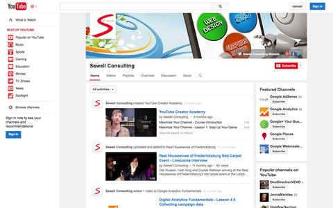 Screenshot of YouTube Page youtube.com - Sewell Consulting  - YouTube - captured Oct. 25, 2014