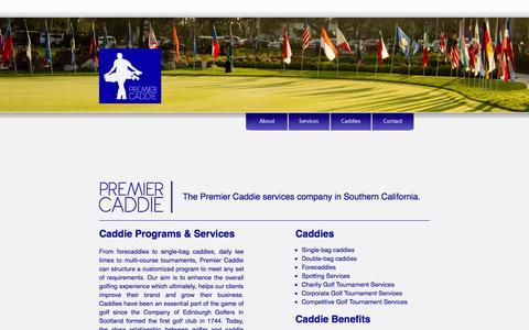 Screenshot of Services Page premiercaddie.org - PremierCaddie - captured Oct. 2, 2014