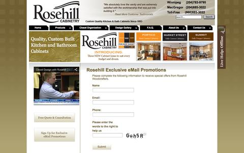 Screenshot of Signup Page rosehillwoodcrafters.ca - Sign Up for Newsletter | Rosehill Woodcrafters | Custom Kitchen & Bath Cabinets - captured Oct. 7, 2014