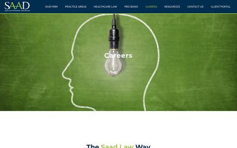 Screenshot of Jobs Page saadlaw.com - Careers « Saad Law - captured Nov. 5, 2018