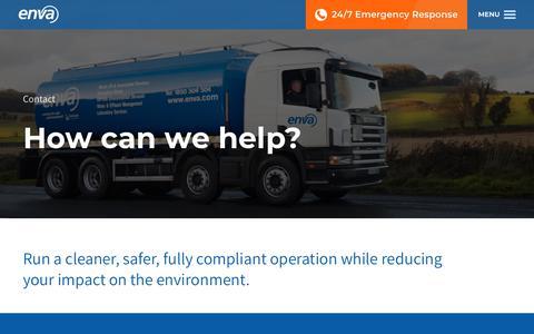 Screenshot of Contact Page enva.com - Environmental Solutions Provider | Contact Enva - captured July 20, 2018