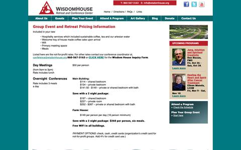 Screenshot of Pricing Page wisdomhouse.org - Wisdom House - Prices - captured Oct. 28, 2018