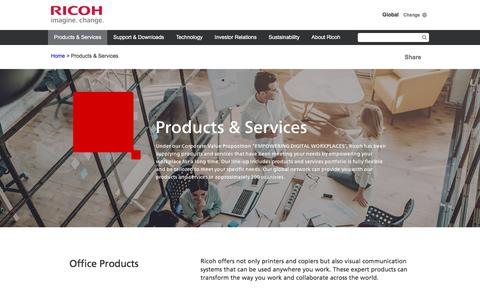Screenshot of Products Page ricoh.com - Products & Services | Global | Ricoh - captured April 8, 2018