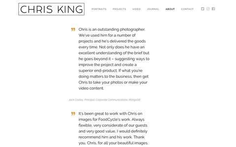 Screenshot of Testimonials Page chriskingphotography.com - Testimonials - Chris King Photography - captured July 18, 2019