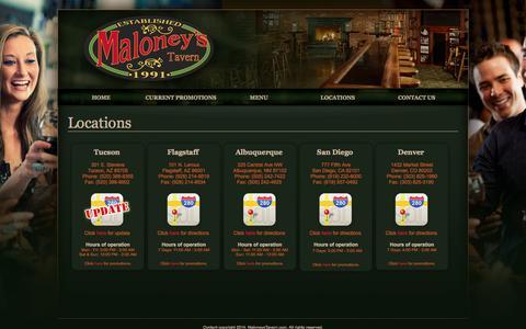 Screenshot of Locations Page maloneystavern.com - Maloney's Tavern - Locations - captured Sept. 30, 2014