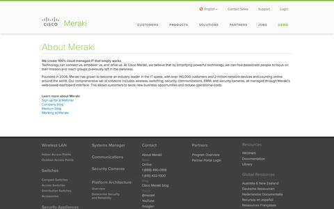 Screenshot of About Page cisco.com - Cisco Meraki | About Meraki - captured Jan. 25, 2017