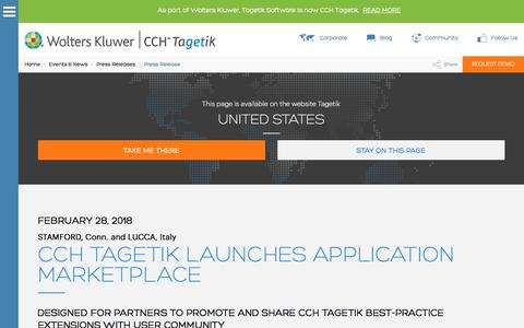 Screenshot of Press Page tagetik.com - CCH Tagetik Launches Application Marketplace - PR   CCH Tagetik - captured March 8, 2018