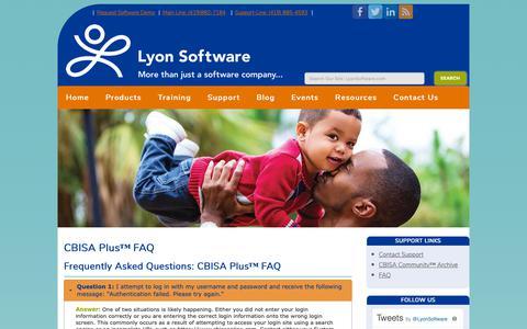 Screenshot of FAQ Page lyonsoftware.com - CBISA Plus™ FAQ - Lyon Software Community Benefit - captured Nov. 5, 2018