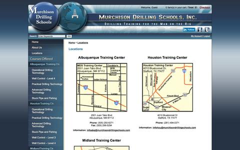 Screenshot of Locations Page murchisondrillingschools.com - Murchison Drilling Schools, Inc. - Drilling and Well Control Training - captured Dec. 19, 2016