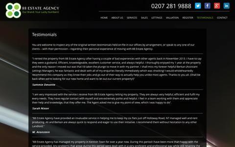 Screenshot of Testimonials Page 88ea.co.uk - Testimonials | 88 Estate Agency, Islington, London - captured Nov. 4, 2014