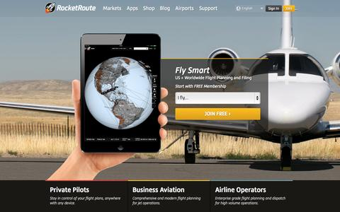 Screenshot of Home Page rocketroute.com - RocketRoute | Flight Planning Centre | Intelligent Routing - captured Sept. 24, 2014