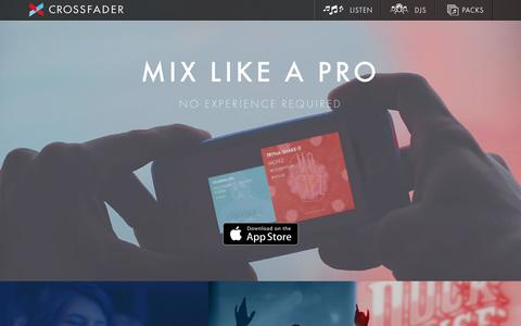 Screenshot of Home Page crossfader.fm - Crossfader | Mix like a Pro - captured Jan. 18, 2016