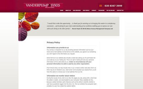 Screenshot of Privacy Page vanderpumpandsykes.co.uk - Privacy Policy - Solicitors Enfield, Middlesex, North London - Vanderpump & Sykes LLP - captured Oct. 27, 2014