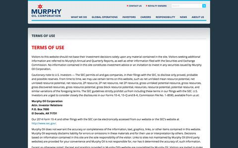 Screenshot of Terms Page murphyoilcorp.com - Terms of Use - captured Aug. 24, 2019