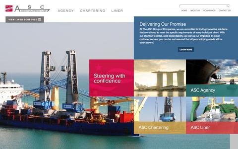 Screenshot of Home Page asc-asia.com - ASC Group of Companies | Agency, Chartering, Liner Services - captured Jan. 23, 2015