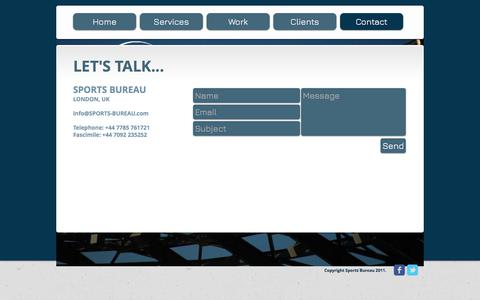 Screenshot of Contact Page sports-bureau.com - SPORTS BUREAU - SPORTS SPONSORSHIP AGENCY AND CONSULTANTS - CONTACT US - captured June 15, 2017