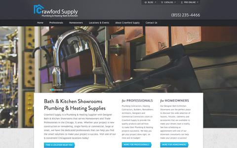 Screenshot of Home Page crawfordsupply.com - Bath & Kitchen Showrooms - Plumbing & Heating Supplies - Chicago Area | Crawford Supply - captured Jan. 27, 2015