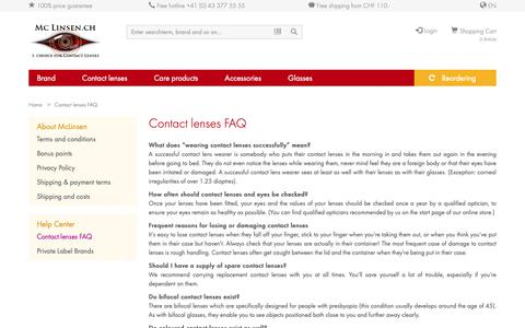 Screenshot of FAQ Page mclinsen.ch - Contact lenses FAQ - mclinsen.ch - captured Oct. 11, 2018