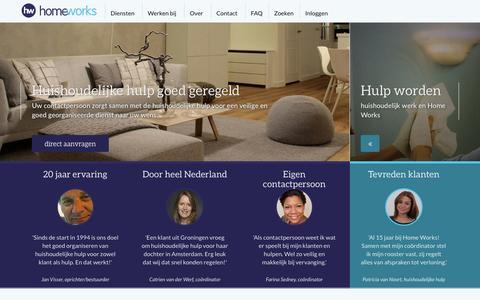 Screenshot of Home Page homeworks.nl - Huishoudelijke hulp, goed georganiseerd | Home Works - captured Jan. 23, 2015