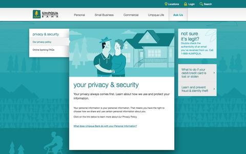 Umpqua Bank -- your privacy policy